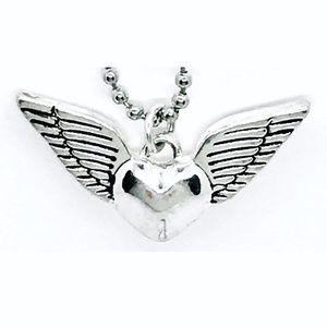 Jewelry - Winged Heart Silver Tone Ball Chain Necklace